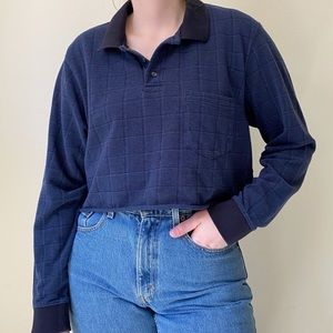 VINTAGE Cropped Dad Shirt Plaid Polo L